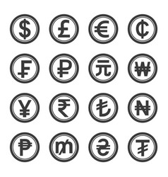 world currencies icons symbol set vector image