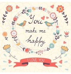 You make me happy romantic card with birds and vector