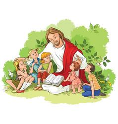 jesus reading the bible to children vector image