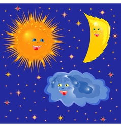 Sun Moon And Cloud On The Starry Sky vector image vector image