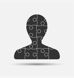 Black puzzle piece silhouette man jigsaw vector