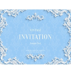 Blue 3d vintage invitation card with floral vector