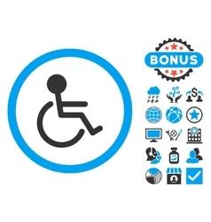 Handicapped Flat Icon with Bonus vector image