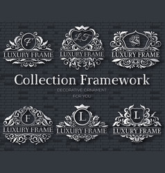 luxury silver label set with logo ornament vector image