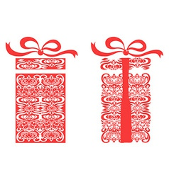red stylized gift box vector image vector image