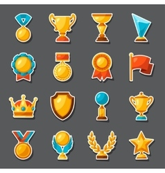 Sport or business award sticker icons set vector