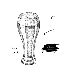 Glass of beer sketch style vector image