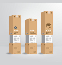 infographic template product shipping paper box vector image vector image