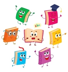 Set of funny book characters mascots cartoon vector image vector image