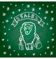 Christmas sale Merry Christmas card Funny sheep vector image vector image