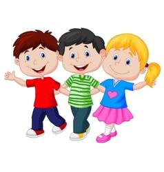 Happy young children cartoon vector image