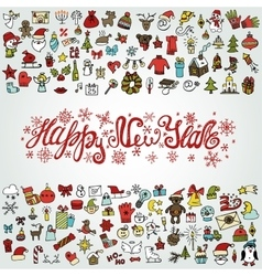 New year greeting cardColored Iconstitle vector image vector image