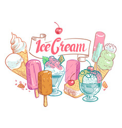 vintage sketch fruit ice cream summertime vector image vector image