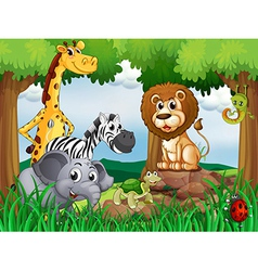 A group of animals in the middle of the forest vector image
