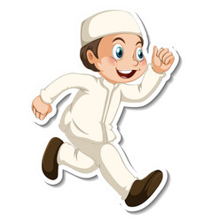 A sticker template with muslim boy in walking vector