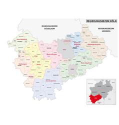 Administrative map cologne region vector