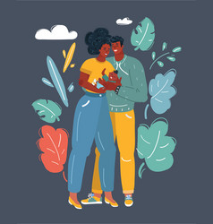 african american couple with baby vector image