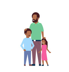 African father beard son and daughter full length vector