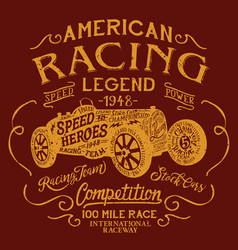 American racing team legendary car competition vector