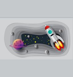 astronaut rocket paper art design vector image