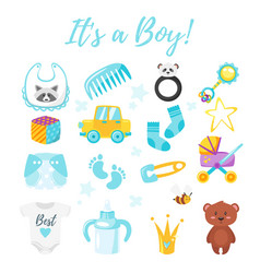baby shower set of symbols vector image