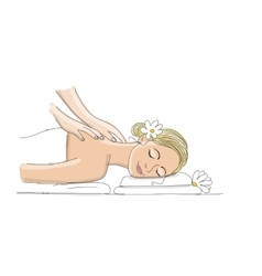 Back massage woman sketch for your design vector image