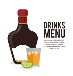 Bottle cocktail label tequila lemon alcohol icon vector