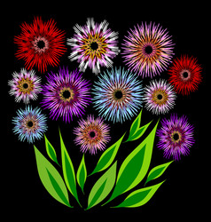 bouquet of colorful flowers and a bunch of green vector image