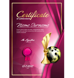 Bowling certificate diploma with golden cup vector