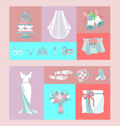 bridal accessories set banners vector image