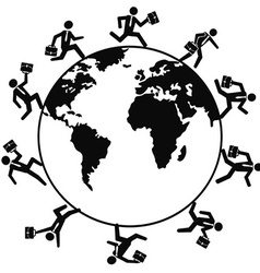 business people running around the world vector image