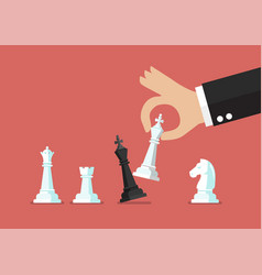 businessman hand use white king checkmate the vector image