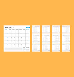 Calendar 2020 square monthly planner vector