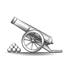 cannon weapon firing vector image