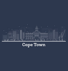 Cape town south africa city skyline with white vector