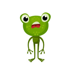 cartoon character of frog with shocked face vector image