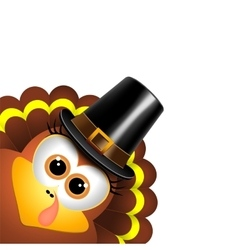 Cartoon turkey in a pilgrim hat vector
