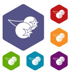 Chokeberry or aronia berry icons set hexagon vector
