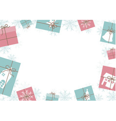 christmas banner design gift box and snowflake vector image