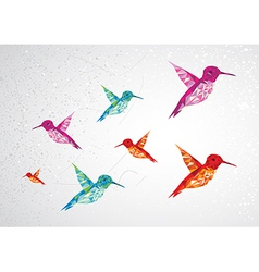 Colorful humming birds vector image