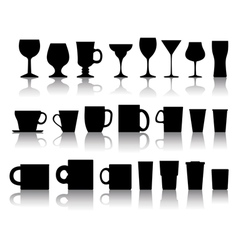 cups mugs wineglasses vector image