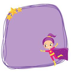 cute girl flying in superhero costume blank vector image