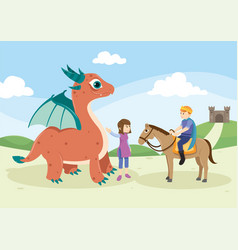 cute monster and knight in fairytale vector image