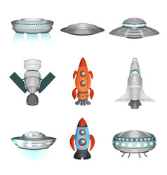 detailed collection of spaceships in flat style vector image