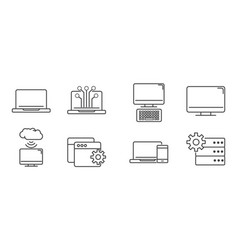 digital tech circuit board icons set line vector image