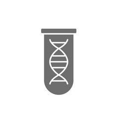 dna molecule in test tube grey icon vector image