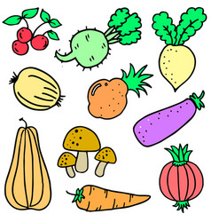 Doodle of vegetable set design cartoon vector