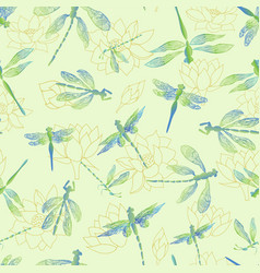 Dragonflies with lace design wings flying over a vector