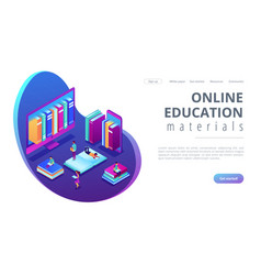 E-library isometric 3d landing page vector