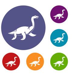 Elasmosaurine dinosaur icons set vector